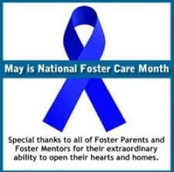 National Foster Care Month blue ribbon