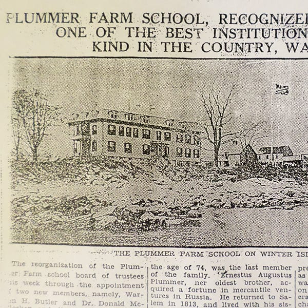 Vintage newspaper article featuring Plummer Farm School