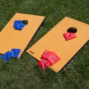 Bean bags and boards for game of bean bag toss